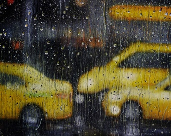New york taxi painting print on canvas paper