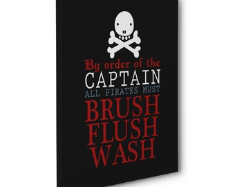 pirate bathroom wall art print, canvas print, pirate canvas bathroom wall decor, brush wash flush quote, kids pirate bathroom decor wall art
