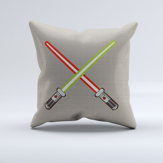 light saber throw pillow, star wars throw pillow, light sabers pillow, gray background, star wars bedroom, star wars nursery pillows