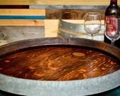 Rare XL Wine Barrel Top Lazy Susan