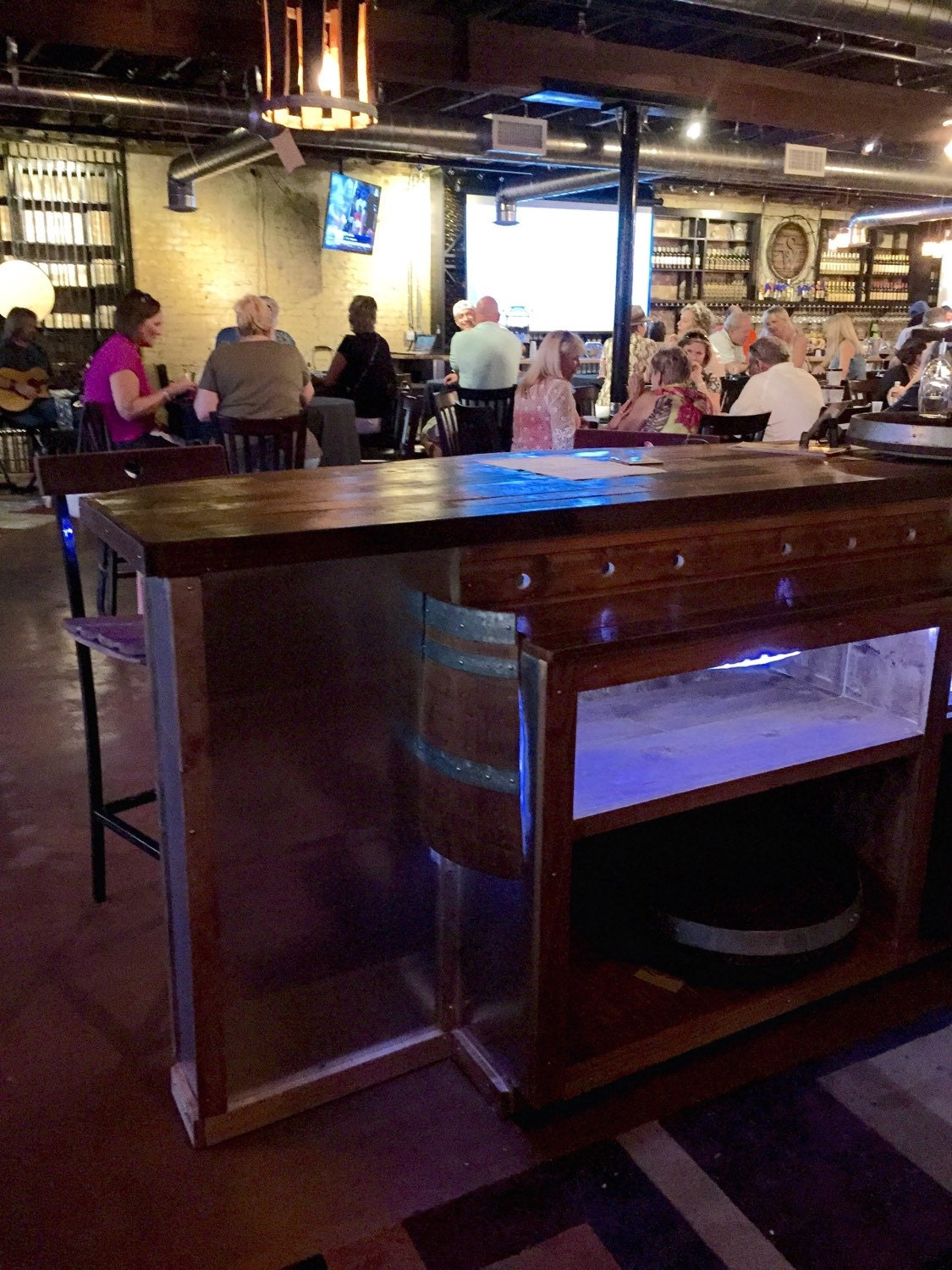 reclaimed wine barrel bar with rustic oak walnut bar top and lighting bar top lighting