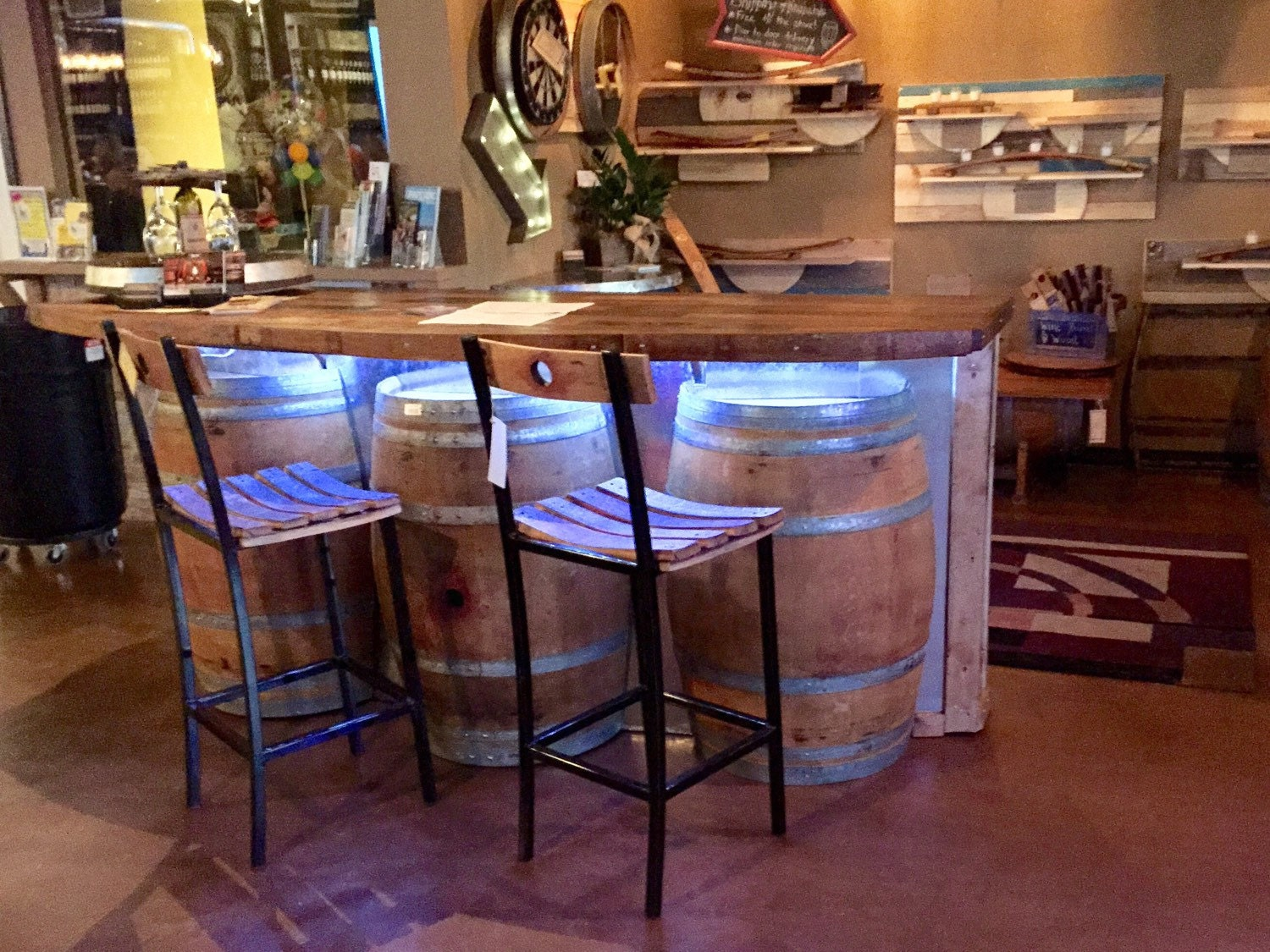 Reclaimed Wine Barrel Bar With Rustic Oak Walnut Bar Top And