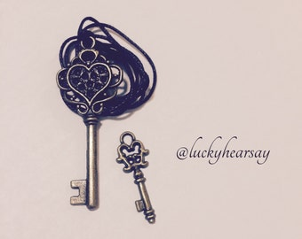 Heart Skeleton Key Necklace