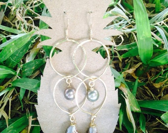 14k gold filled earrings with Fresh Water Pearls & Baby Textile Cones