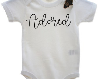 Adored Babygrow Kids Cute Adorable Babyshower Present Slogan Baby Clothing EBG30