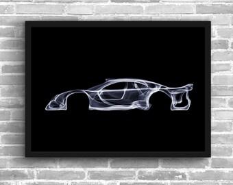 Mercedes Clk Gtr Art Wall Art Supercar  Man Cave Gift For Him Automotive Art Car Art Home Decor Mercedes Gtr Décor Mercedes Gtr poster