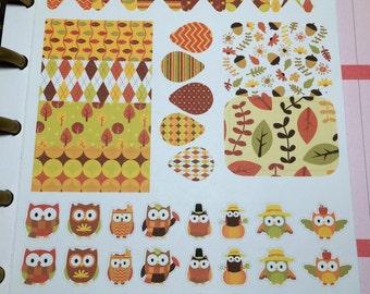 Autumn Owl Planner Sticker Sheet
