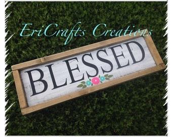 BLESSED Wood Sign Framed