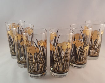 SALE - Gold and Black Iris Glasses - Set of 6