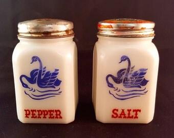 SALE - Milk Glass Vintage Salt and Pepper Shakers