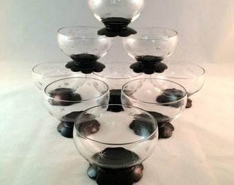 SALE - Atomic Starburst Dessert Cups - Vintage - Set of 9 - Mid Century