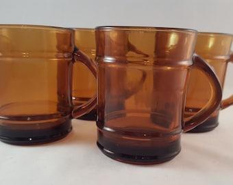 SALE - Anchor Hocking Fire King Amber Mugs
