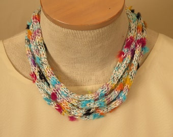 Knit And Beaded Necklace Multi Colored
