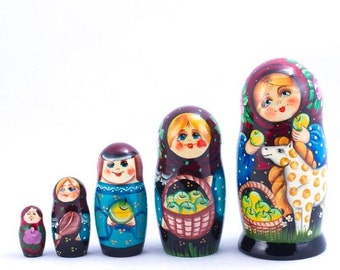 30% OFF FLASH SALE Russian Matryoshka. Girl with a Horse Nesting Doll. 5 pcs. 7''.  Hand painted in Russia