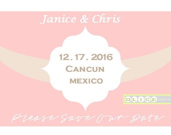 Save the date wedding announcements - destination wedding announcements -  pink and cream - wedding announcements - destination wedding