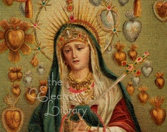 Maria Dolorosa Digital Download: Mary with Gold and Silver Hearts