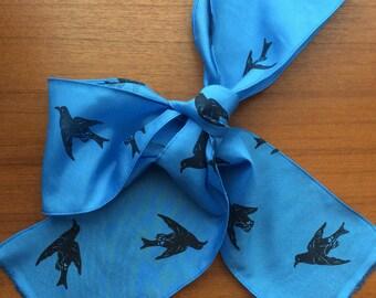 Guadalupe Storm Petrel extinct bird scarf silk/cotton blend. Handprinted and made by Australian artist.