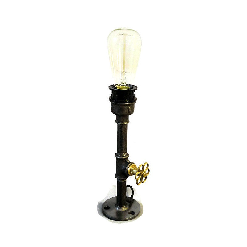 Pipe style edison bulb industrial upcycled table lamp steam for Black pipe light socket