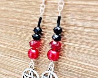 Pentacle halloween beaded earrings