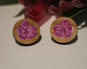 Australian Flower Earrings-Australian Wildflower Earrings-Wood Flower Earrings-Orchid