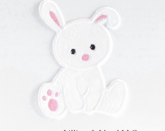 Cute Bunny Iron-On Applique/  Bunny Patch/ Bunny Applique/ Easter Iron On/ Easter Patch /Easter Applique/ Spring /Rabbit/White and Pink