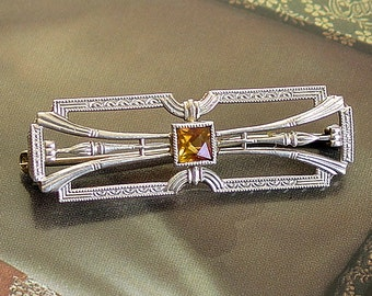 Krementz  Art Deco Pin, 14K White Gold Antqiue Petite Brooch, Citrine Stone