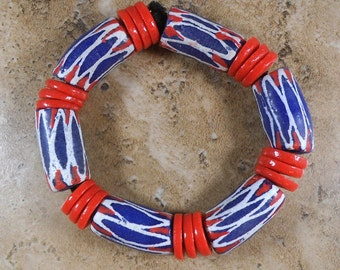 Man's African Bracelet from Ghana in Red, White & Blue large chunky beads - AB54