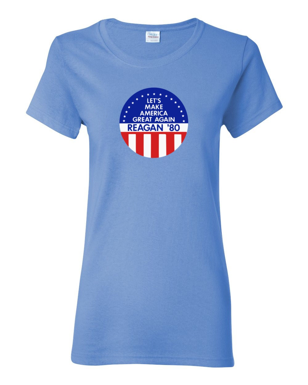 Let's Make America Great Again - Ronald Reagan 1980 Political Campaign Button Womens T-shirt