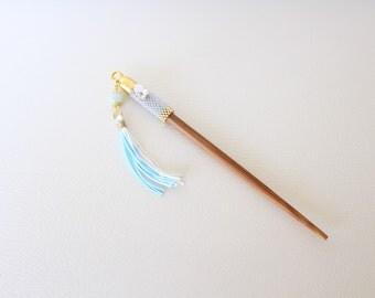 Hair Stick Japanese handmade kanzashi size:150 mm bambood Stick+Amazonite+tassel