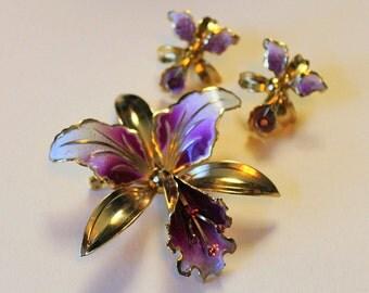1940's Orchid Brooch & Earring Set - Coralene Accent - Deep Purple Amethyst Stones