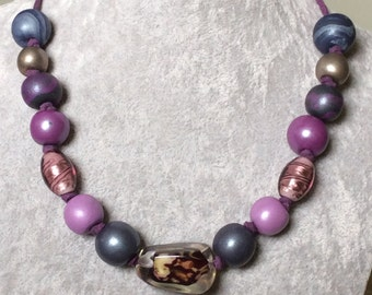 Polymer clay mauve beads - Elegance begins with mauve