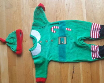 Santa's little helper green elf outfit with hat to fit 3-6 months