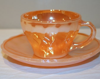 Vintage Anchor Hocking Fireking Peach Lustre Cup Saucer Demitasse Shell Pattern