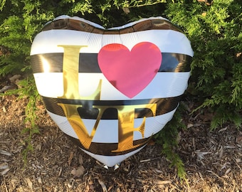 """LOVE/HEART BALLOON/Love Balloon/18"""" Heart Balloon Stripe Balloon/Bride/Wedding Decor/Foil Heart Balloons/ Engagement Party/Anniversary Party"""