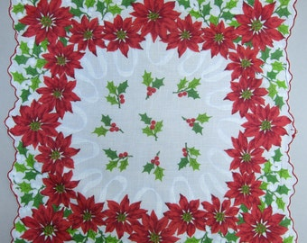 Vintage Christmas Handkerchief, Poinsettias and Holly