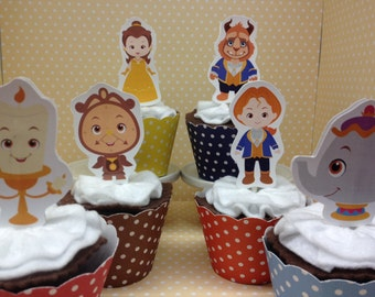 Beauty and the Beast Party Cupcake Topper Decorations - Set of 10