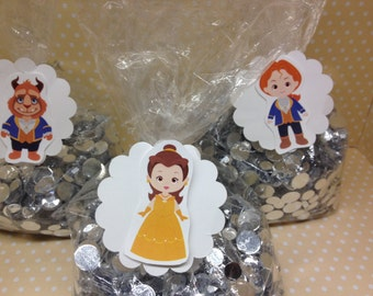 Beauty and the Beast Party Candy or Favor Bags with Tags - Set of 10