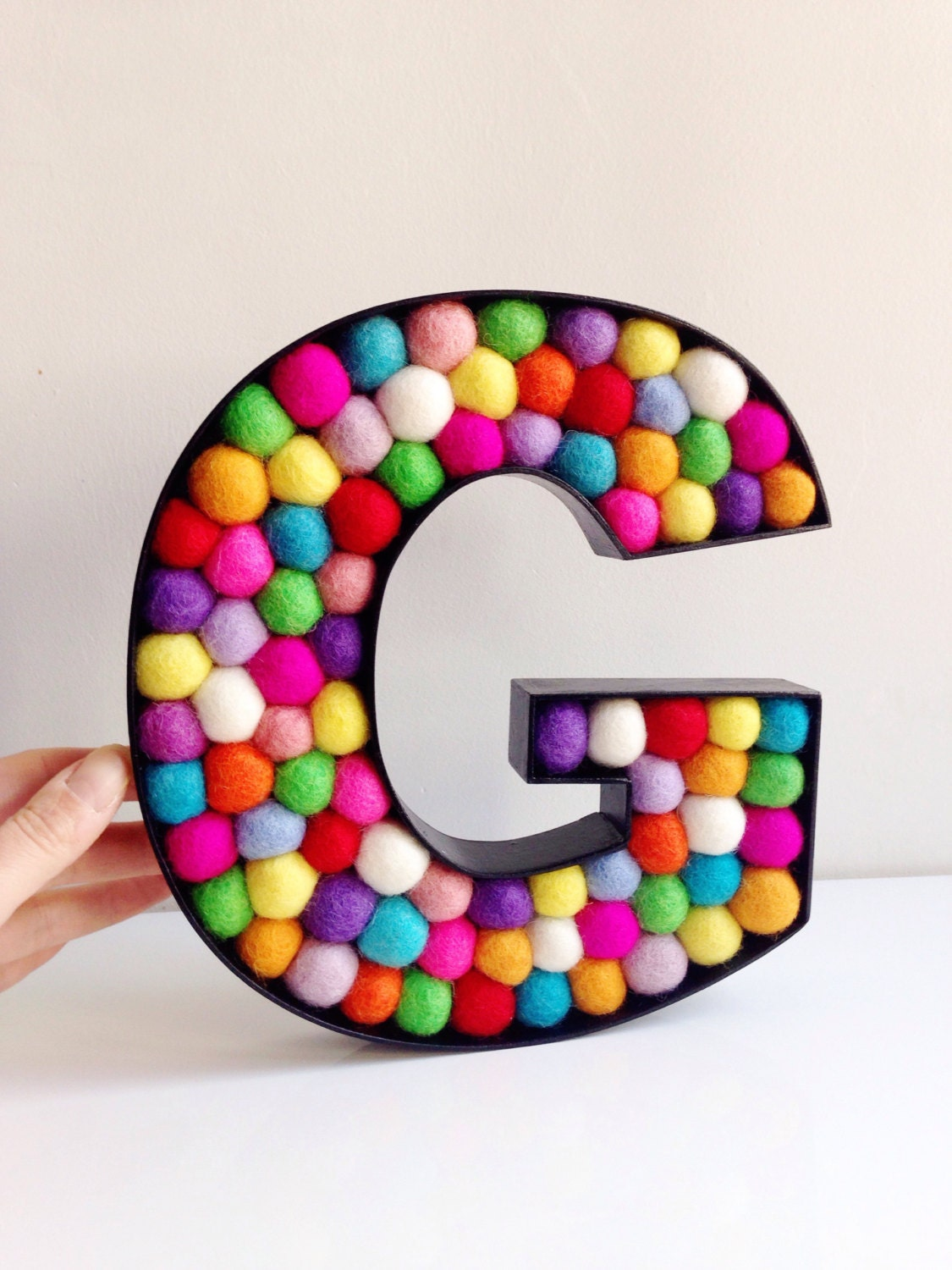 kids room decorative letter g felt ball free standing letters wall letter g monogrammed initial