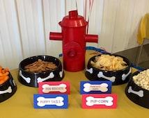 Paw Patrol Birthday Party Decoration, Personalized Paw Patrol Food Cards, Paw Patrol Tent Cards (Set of 4)