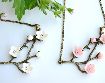 Twig necklace. Spring necklace. Blossom necklace. Sakura necklace jewelry. The branch necklace. Forest jewelry. Blossom. Sakura.