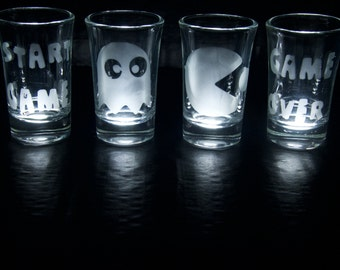Pacman Inspired Etched shot glasses