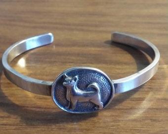 "Sterling Silver Hamd & Hammer ""Chihuahua"" dog cuff bracelet."
