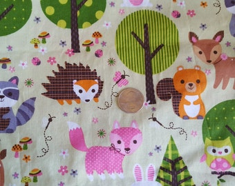 Woodland Forest Animals - fabric destash