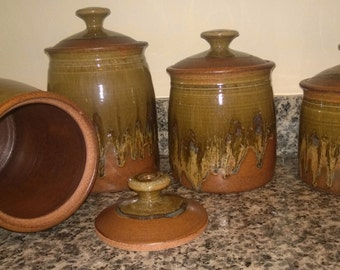 Vintage Studio Stoneware Canisters, Set of Four