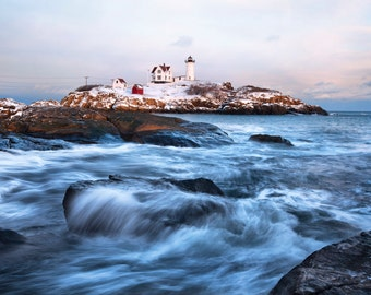 Fine Art Print, Nubble Lighthouse, Maine, Seacoast Photography, Winter, Waves, New England, Nautical Home Decor