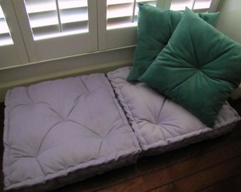Velvet Floor Pillow, Lilac Tufted Floor Cushion with French Mattress Quilting, Stuffed 24x24x4, Purple Floor Pillow, Custom Sizes Available