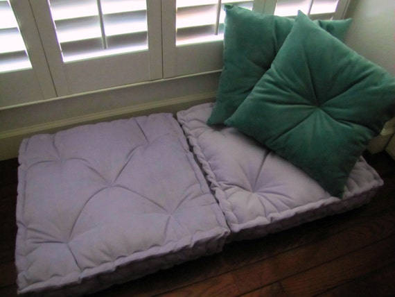 Velvet Floor Pillow Lilac Tufted Floor Cushion with French