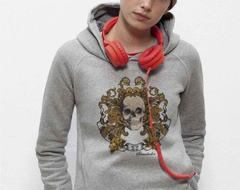 Hooded Sweatshirt Fair Trade organic cotton light gray mottled