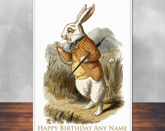 Alice in Wonderland birthday card: The White Rabbit. 5x7 inches (128mm x 178mm). Personalised, plus envelope.
