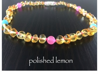 Baltic Amber Teething Necklace - COTTON CANDY
